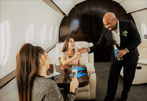 Friends on a private jet
